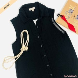 [Kirra] Black Open/Sheer Back Sleeveless Blouse